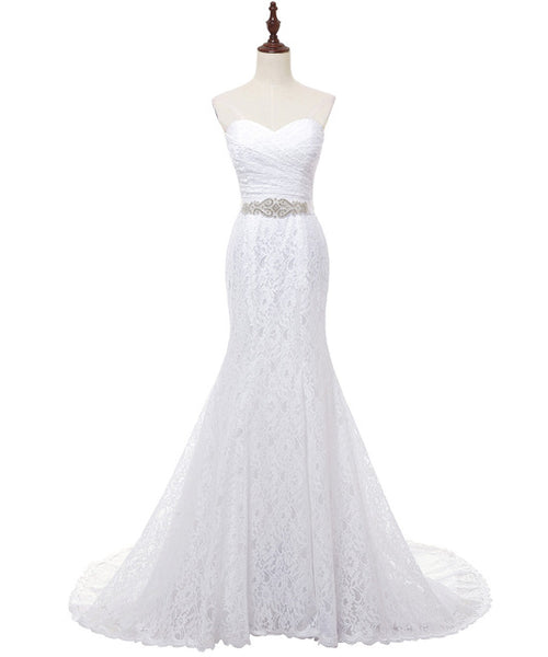 Pleat Bridal Wedding Gown Real Photos White Lace Mermaid Wedding Dress
