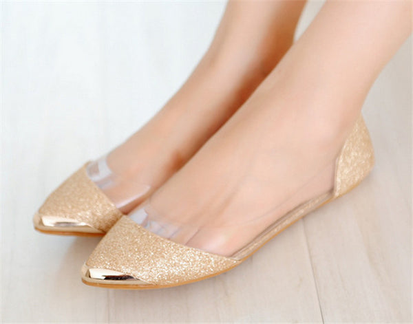Women's Flat Sandals With Decorative Metal Tip