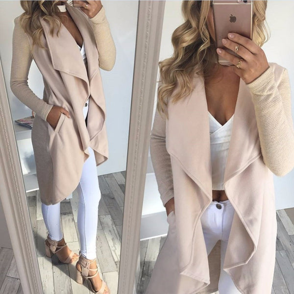 Autumn Elegant Waterfall Cardigan Ladies Long Sleeve Jacket Coat Cardigan
