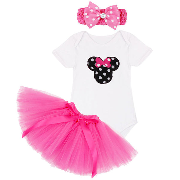 1st First Birthday Baby Girl Party Outfit 3PCS Summer Clothing Sets Top T Shirt Cake Tutu Skirt Hairband Children Clothes Pink
