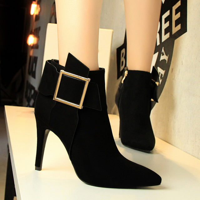Womens High Stiletto Heel Pointy Toe Ladies Fitted Zip Up Ankle Boots Shoes Size