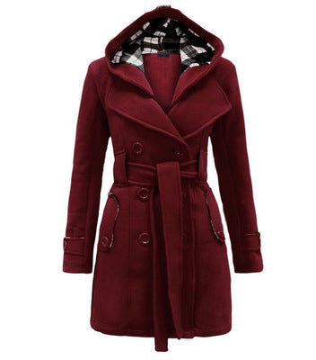 Winter Hooded Sweater Coat Women double-breasted Cardigan Jacket Stitching Long Woolen Coats With Belt