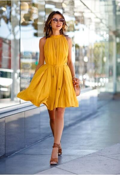 Yellow One Piece Fashion Sleeveless Party Dress With Belt Ladies Casual Beach Dresses