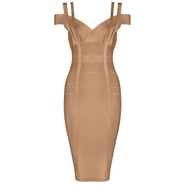 Women Party Bandage Dress Sexy Spaghetti Strap Deep V Knee Length Backless Prom Summer Bodycon Dress