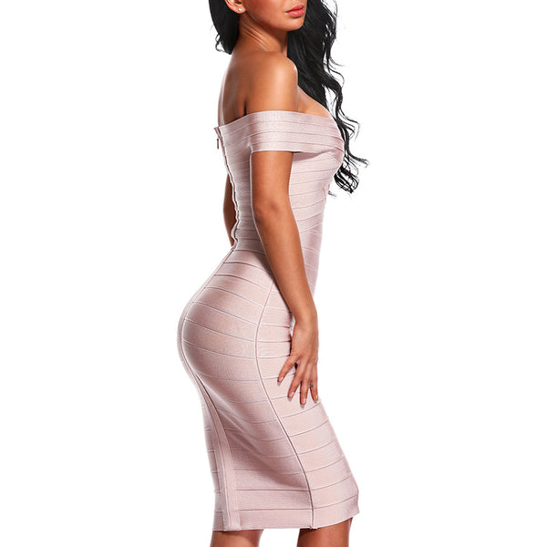 Sexy Off Shoulder Women Bandage Dress Elegant Slash Neck Knee Length Bodycon Backless Party Dress
