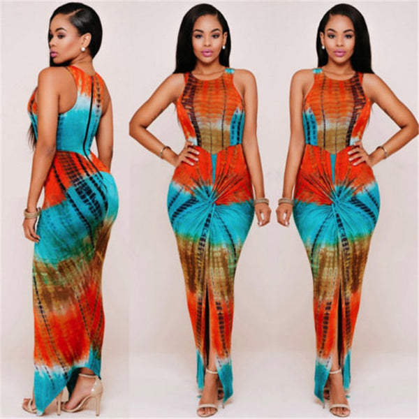 Women Sleeveless Casual Tye Dye Printed Long Bandage Dress