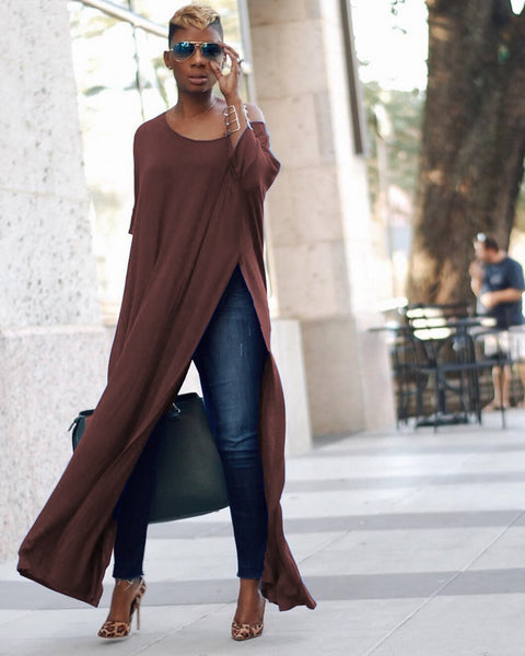 High Split T Shirt One Shoulder Casual Loose Streetwear Long Maxi Dress