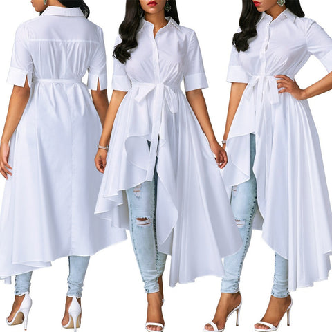 Women Short Sleeve Turn Down Collar Hi Low Shirt Dress Casual White Plus  Size Bandage Big Swing Party Dress