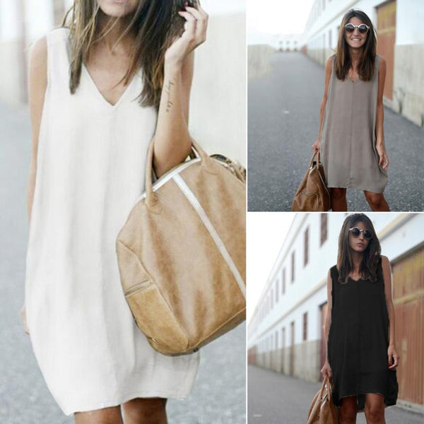 Fashion Dress Summer Women Chiffon Dress Sleeveless Loose Dovetail type Vest Long Dresses Brand New Women Clothing