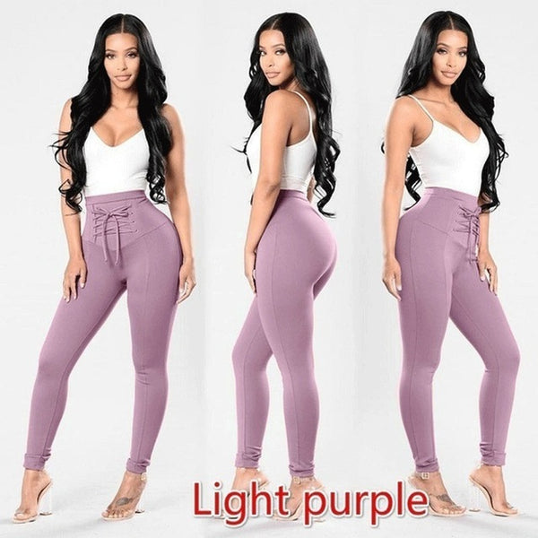 Casual Women Bandage Cross High Waist Slim Skinny Stretchy Pants