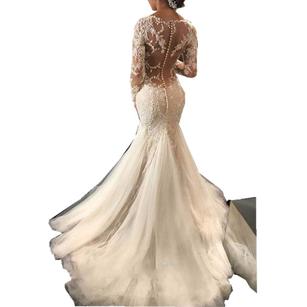 African Vintage Long Sleeves Mermaid Lace Wedding Dress Bride Dress
