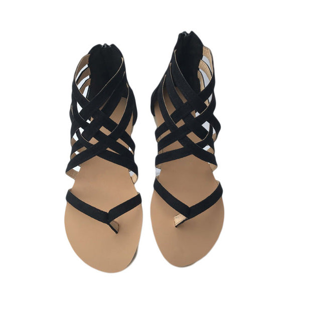 Women Shoes Sandals Comfort Sandals Summer Flip Flops Fashion High Quality Cross Strap Flat Gladiator Sandals
