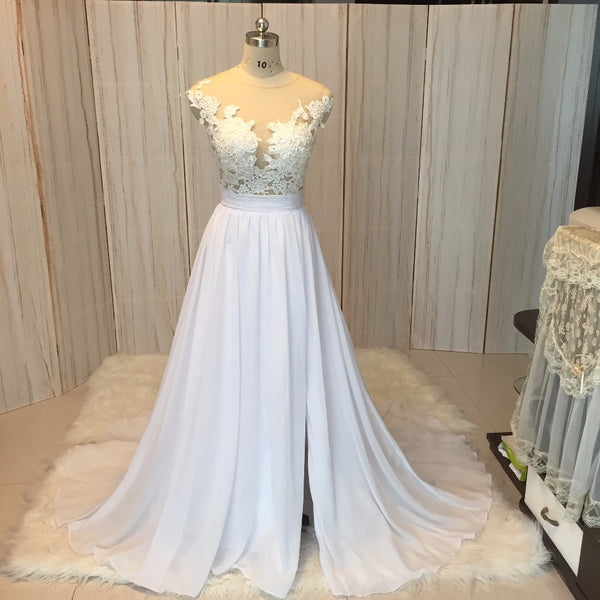 Chiffon Beach Wedding Dress Lace Bridal Dresses