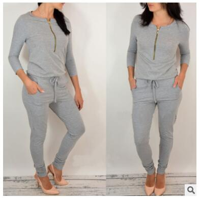 Women Long Sleeve  Mid Waist Black Gray Cotton Thin  Zipper Casual Jumpsuit Romper