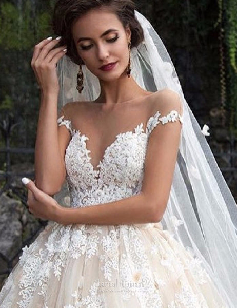 Luxury Lace Ball Gown Shoulder Princess Bridal Dress Gown