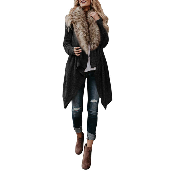 Fashion Luxury Women Knit Faux Fur Long Sleeve Coat Tops Cardigan Sweaters Parka Outerwear Ladies Spring Coat