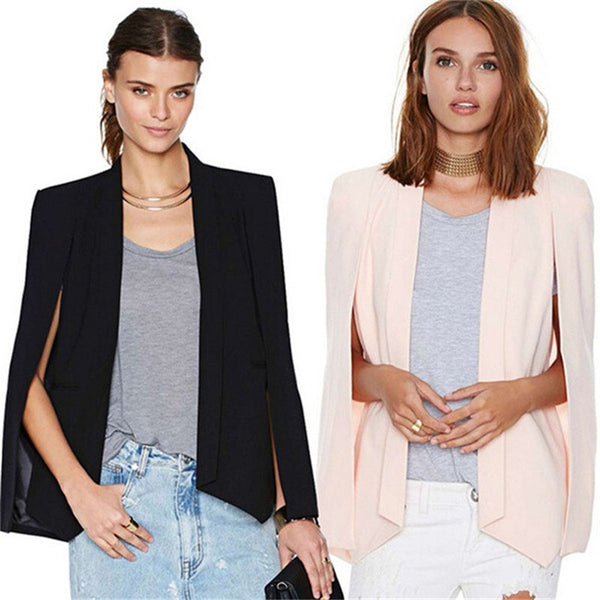 Ladies Women Long Sleeve Cloak Blazer Suit Coat Lapel Cape Poncho Office Jacket