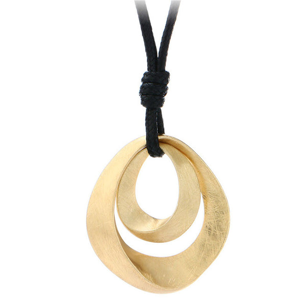 Hot Sale Classic Jewelry Women Gold Silver Plated Handmade Drawing Brushed Double Oval Hollow Pendant Necklace