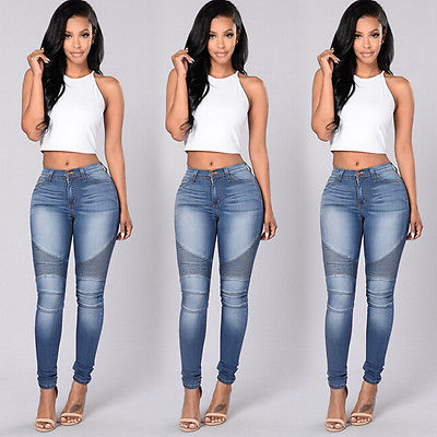Autumn Sexy Women Denim Skinny Pants High Waist Stretch Jeans Slim Pencil Trousers