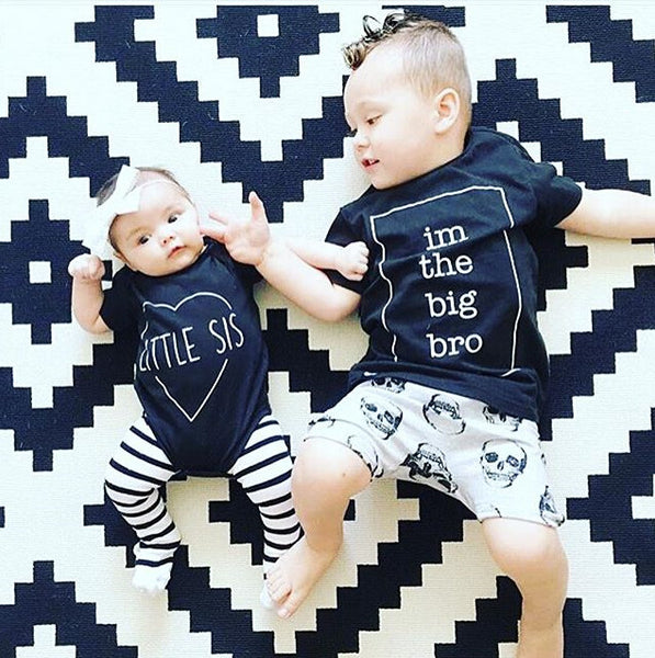 Baby Boys & Girls Big Bro Sister TShirt Top Summer Short Sleeve Casual Child Tops Shirt