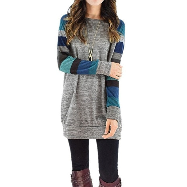 Women Long Sleeve O Neck Striped Patchwork T-Shirt Casual Loose Soft Warm Sweater