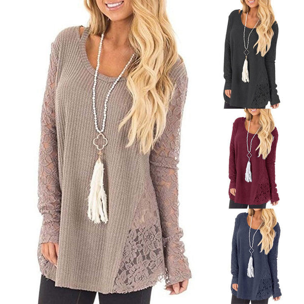 Women's Sweater Lace Hollow Fashion Long Sleeve Sweater O-Neck Lace Patchwork Casual Loose Sweater
