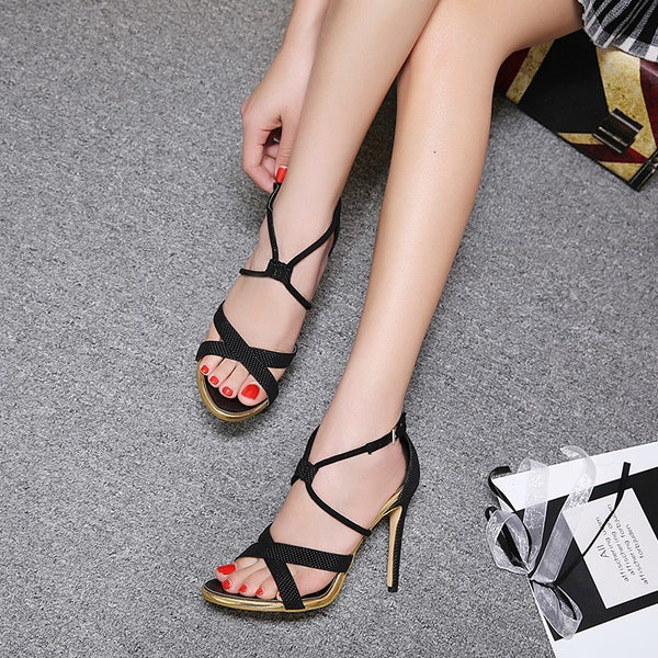 Gladiator Women Sexy Open Toe Women Cross-Strap Black Sandals Shoes