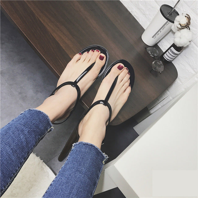 T-shaped Flat Sandals Toe Sandals Jelly Sandals Woman Beach Shoes