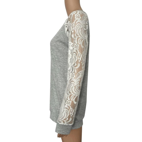 Women Sexy Causal Lace Floral Splicing Hollow Sleeve O-Neck Sweater Top