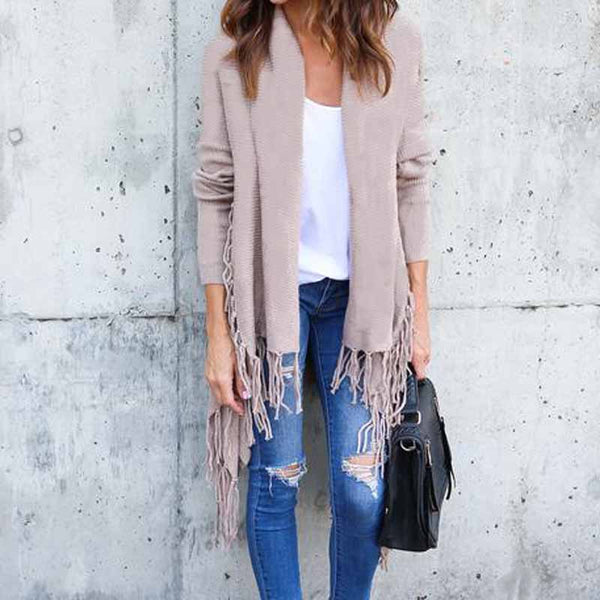 New Women Long Sleeve Asymmetric Tassel Cardigan Coats Autumn Winter Ladies Loose Jacket Tops Female Outwear Tops