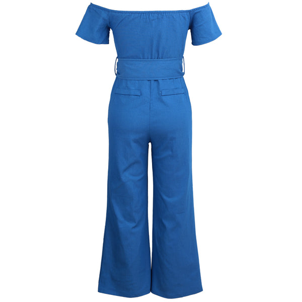 Women Off Shoulder Sexy Playsuit female Wide Leg Jumpsuit Slash Neck Zipper Front Belted High Waist Playsuit Rompers Denim Jeans