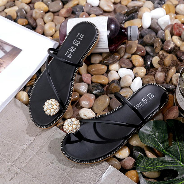 Women Summer Rhinestone Shoes Peep-toe Low Shoes Roman Sandals Ladies Flip Flops Women Slipper Shoes