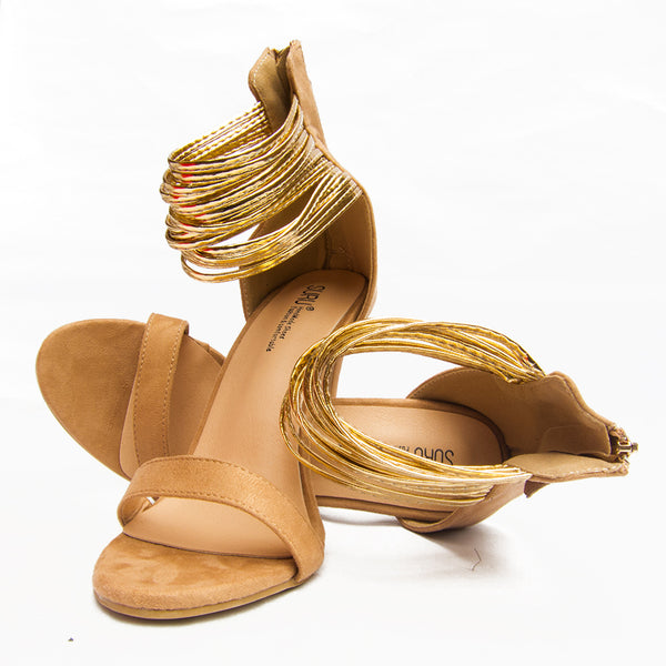 Gold Strappy Sandals Women Back Zip Sandals Heels Fashion Summer Shoes