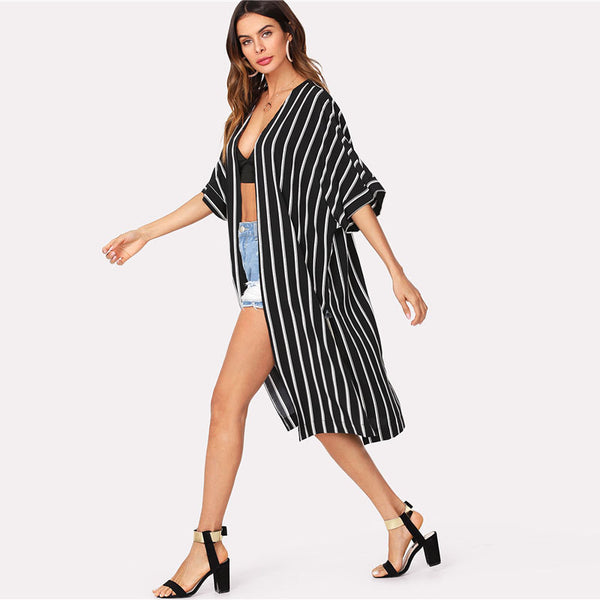 Vertical Striped Longline Kimono 2018 New Arrival Summer 3/4 Sleeve Split Casual Kimono Black And White Women Clothing