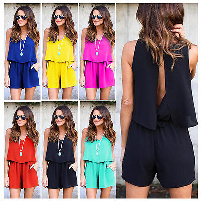 Summer Sleeveless V-Neck Pullover Fashion Hot New Women Sexy Shorts Beach Chiffon Casual Sun Playsuit Ladies Jumpsuit
