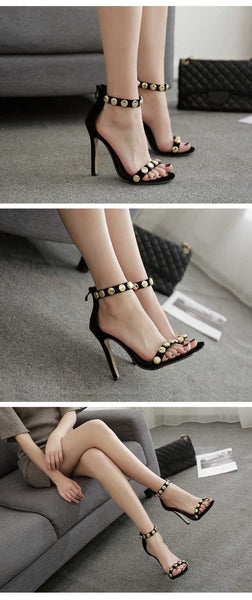 Summer Women Sandals Sexy Rivet Sandals Peep Toe Thin Heels Cover Heel Party Black Ladies Sandals