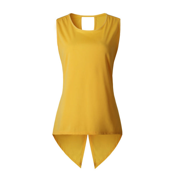 Sexy Sleeveless T-shirt Yellow Cross Sexy Ladies Sleeveless O-neck Slim Dovetail T Shirt
