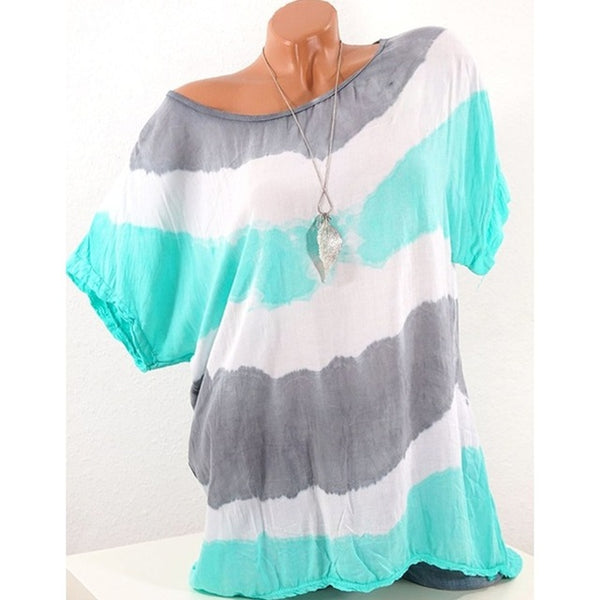 Round Neck Short Sleeve Casual Loose Fashion Tops Striped Women Blouses