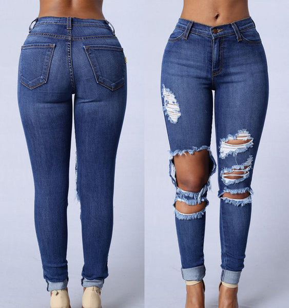 Fashion Hole Jeans Women High Waist Ripped Blue Denim Slim Skinny Pencil Pants Ladies Casual Deep Wash Elastic Stretch Trouser