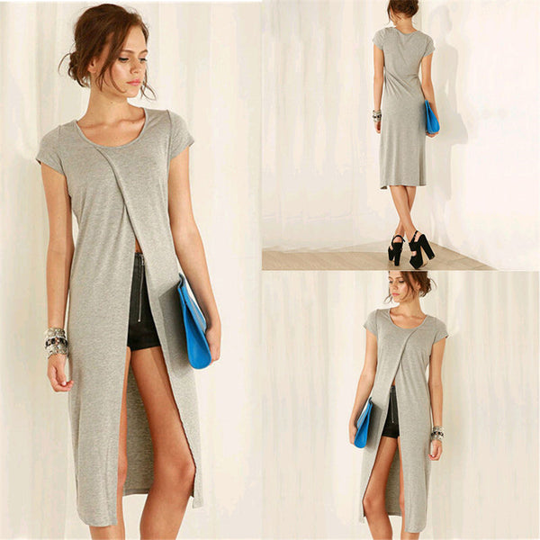 Womens Sexy Long Shirts Gray Split Solid Slim Summer Wear Casual Loose Short Sleeve Round Neck Tops