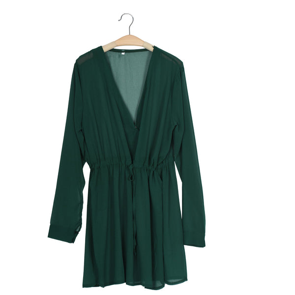 New Sexy Long Sleeve Solid Green Dress Women V Neck Party Dress Evening Casual Summer Mini Dress