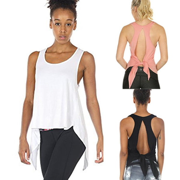 Women Sexy Tops Racerback Tank Top Backless Sleeveless Blouse