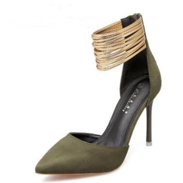 Pointed Women's High-heeled Metal Strap Shoes