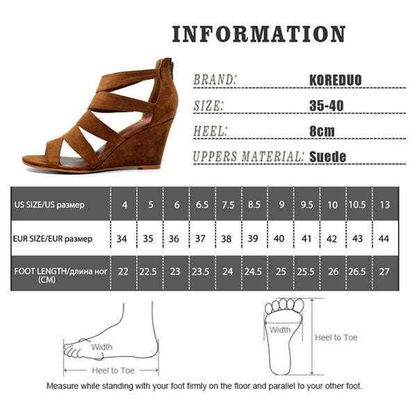 Gladiator Shoes Women Platform Wedges High Heel Sandals Rome Ladies Wedge Heels Zip Black Brown Shoes