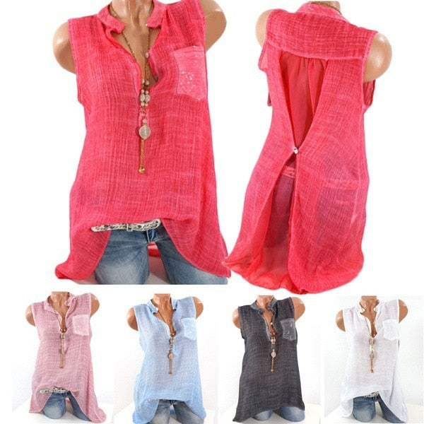 Women V Neck Sleeveless Pocket Chiffon Shirt Blouses