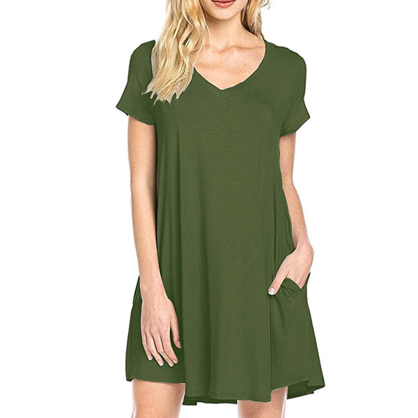 Sexy Summer Women Short Sleeve Dress Solid V-neck Casual Party Short Mini Dresses