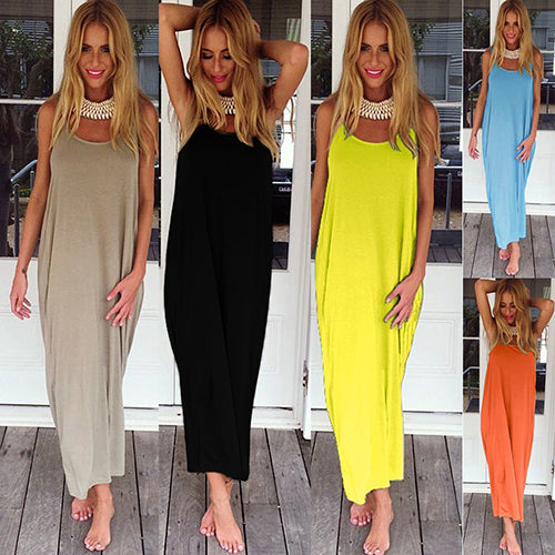 Women Summer Sexy Backless Boho Casual Party Long Maxi Beach Dress Sundress