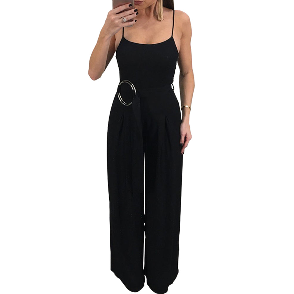 edad452a5e1 Sexy Spaghetti Strap Rompers Womens Jumpsuit Sleeveless Backless Wide Leg  Pants Belted Summer Overalls Black  ...