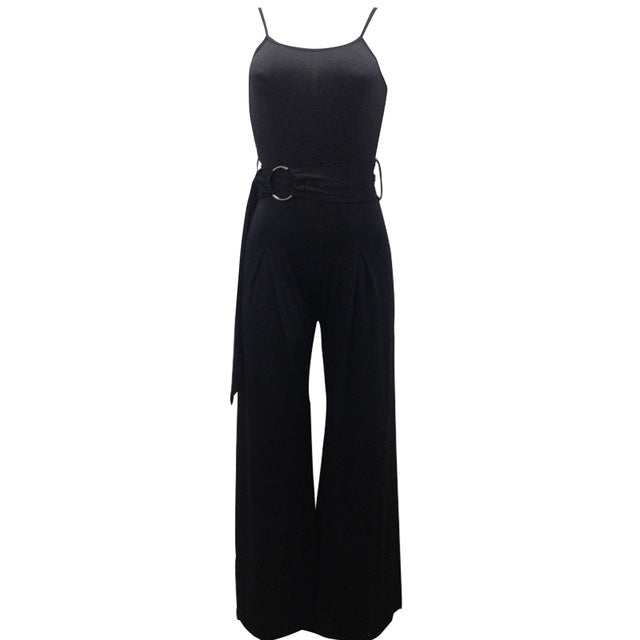 Sexy Spaghetti Strap Rompers Womens Jumpsuit Sleeveless Backless Wide Leg Pants Belted Summer Overalls Black/Army Green