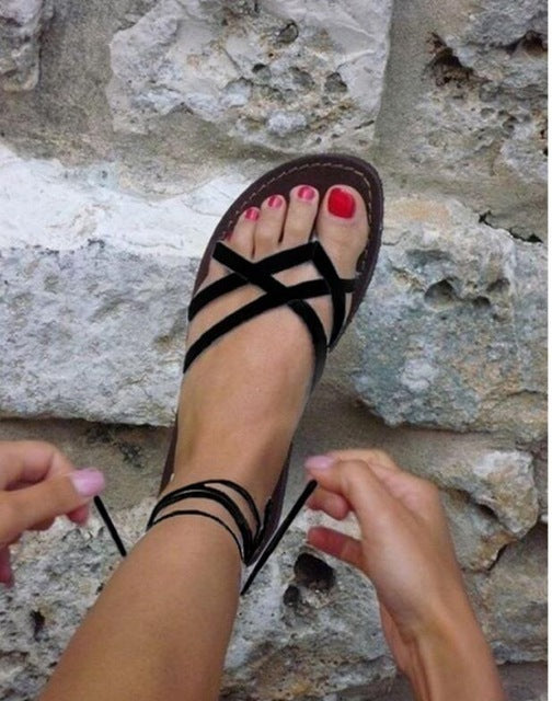 Gladiator Roman Summer Shoes Comfortable Flat Ladies Solid Sandals Woman Strappy Shoes